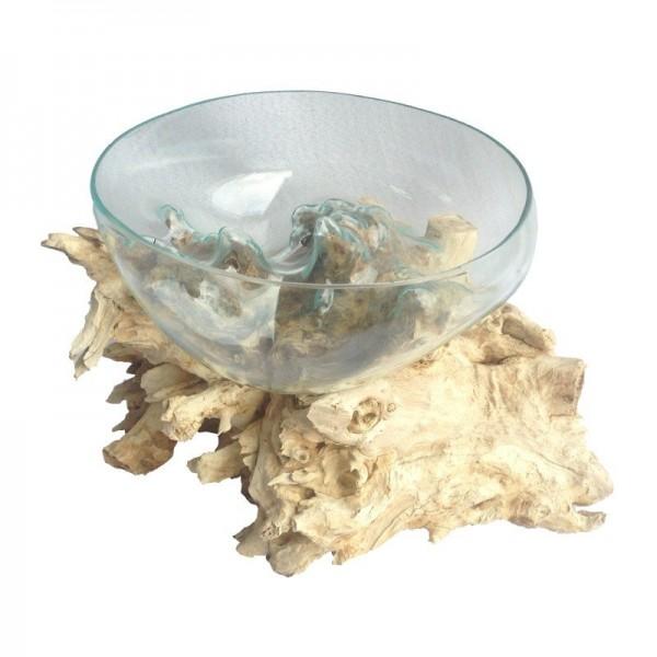 Liqva Wurzelholz mit 1 Glasschale Größe M, dm ca 25cm