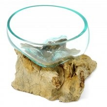 Liqva Wurzelholz mit 1 Glasschale Größe S, dm ca 13cm
