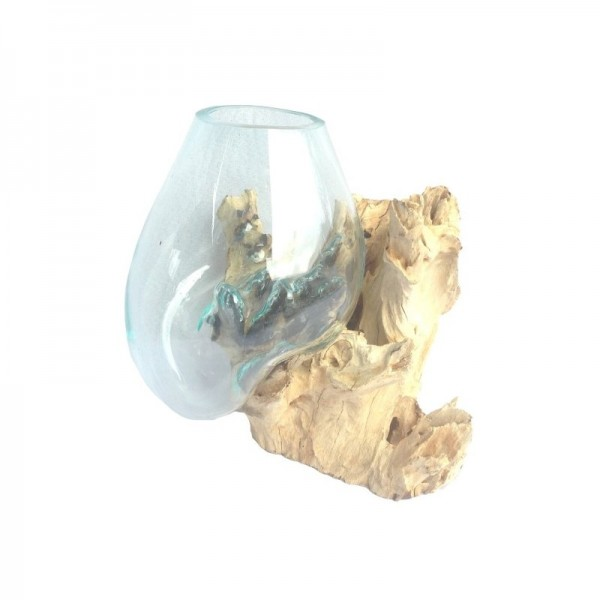 Liqva Wurzelholz mit 1 Glasschale Größe S, dm ca 15-20cm